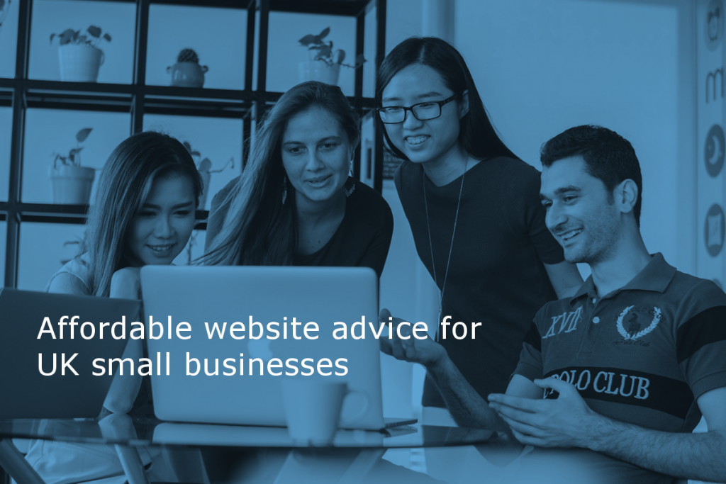 Affordable website advice for UK small businesses by Site Review UK (Image shows four people excitedly discussing the content on a laptop with the caption: Affordable website advice for UK small businesses)