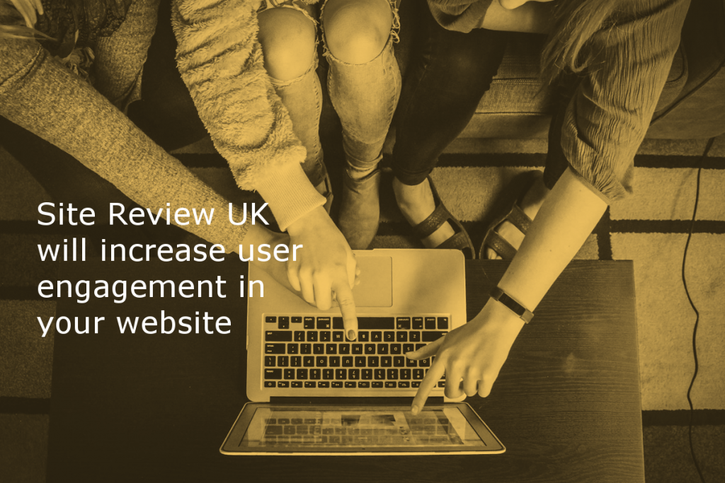 Content review service by Site Review UK (Image shows three people excitedly discussing the content on a laptop with the caption: Site Review UK will increase user engagement in your website)
