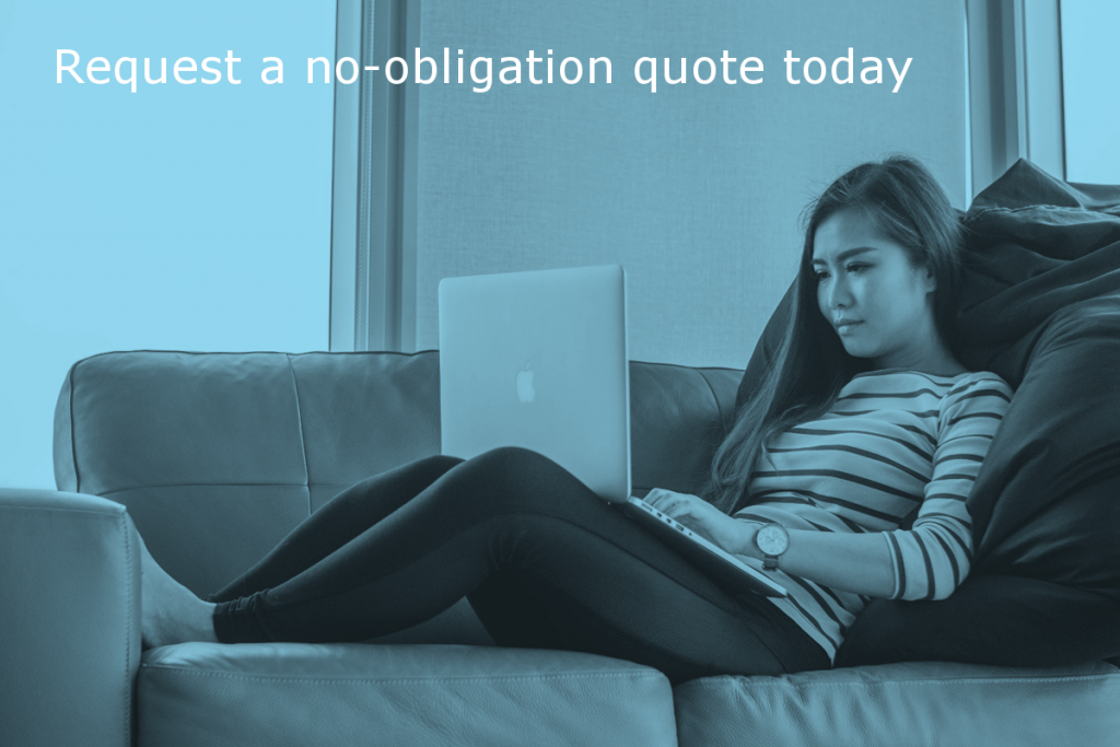 Content review service quote by Site Review UK (Image shows a person using a laptop with the caption: Request a no-obligation quote today)