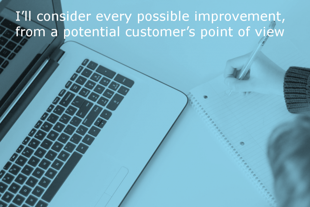 Content writing service by Site Review UK (Image shows a person making notes whilst working on a laptop with the caption: I'll consider every possible improvement, from a potential customer's point of view)