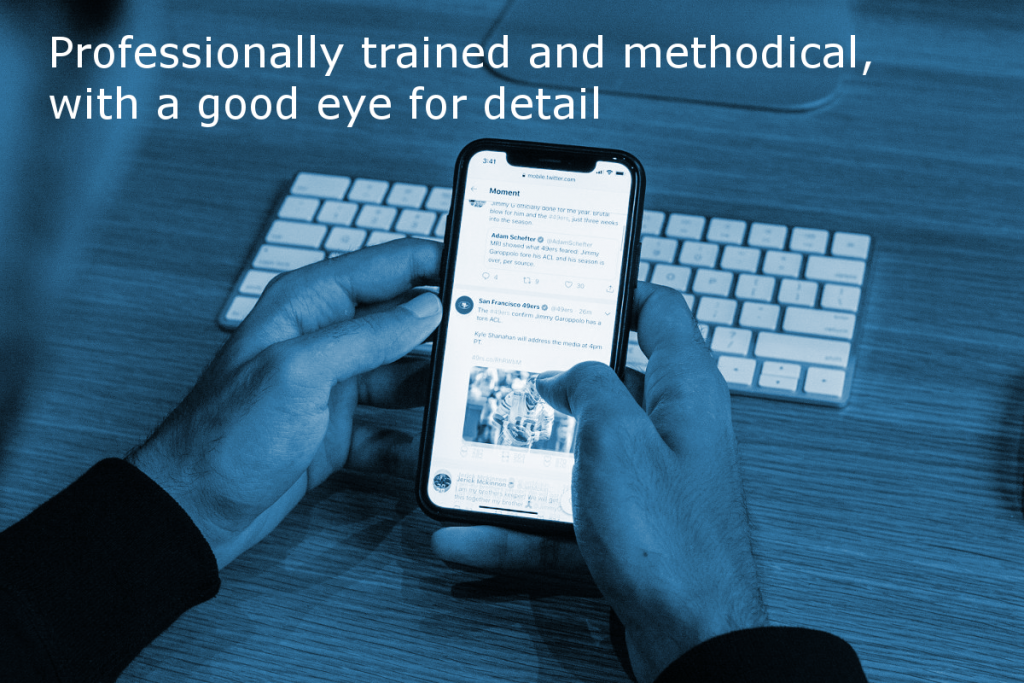 Professional content writer at Site Review UK (Image shows a person checking content on a smartphone with the caption: Professionally trained and methodical, with a good eye for detail)