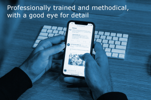 Internal communications advice by Site Review UK (Image shows a person checking content on a smartphone with the caption: Professionally trained and methodical, with a good eye for detail)