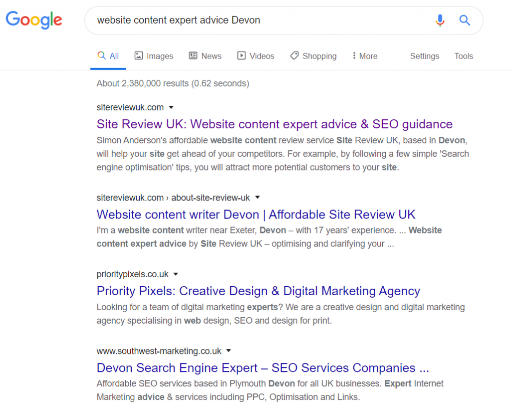 Site Review UK ranking no.1 and no.2 on Google, March 2020