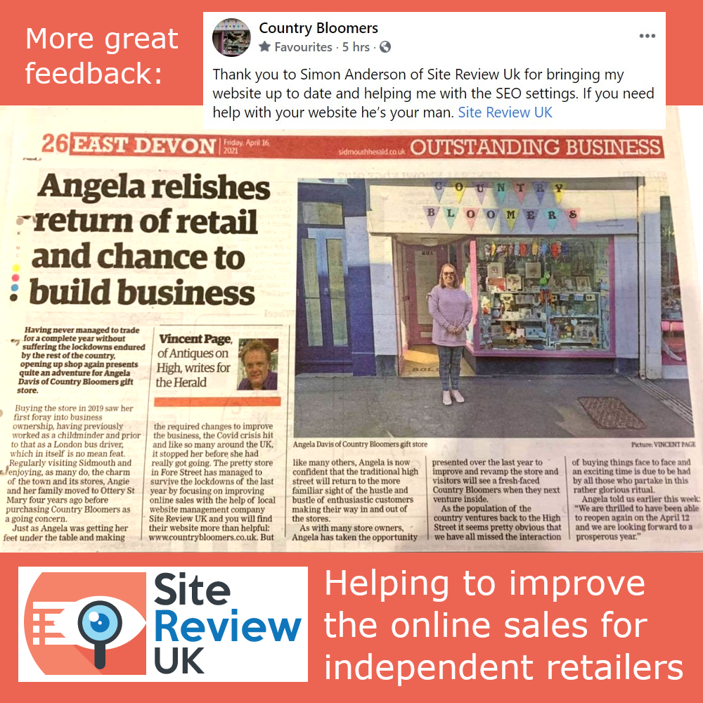 Latest news image. Site Review UK advert: Published proof that I'm helping to improve the online sales for independent retailers